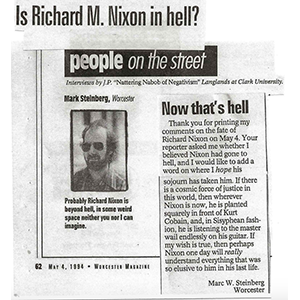 Nixon listening to Kurt Cobain